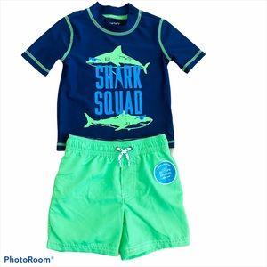 Carters 2T Shark Rashguard Top Swim Trunks NEW $46